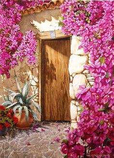 Puerta con Buganvilla 55 x 75 cm - Robert C. Beautiful Landscape Wallpaper, Beautiful Paintings, Watercolor Flowers Tutorial, Watercolor Paintings, Outdoor Wall Paint, Watercolor Architecture, Diy Canvas Art, Art Background, Animal Paintings