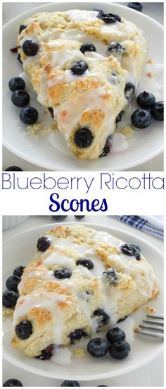 Blueberry Ricotta Scones - Classic and crumbly, these tender scones are made with sweet ricotta cheese and loaded with juicy blueberries!
