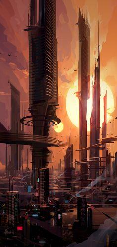 Towers by Andead on deviantART / sci fi cityscape / futuristic city / urban fantasy / digital art / background Cyberpunk City, Ville Cyberpunk, Cyberpunk Kunst, Futuristic City, Futuristic Architecture, 3d Fantasy, Fantasy City, Fantasy Places, Concept Art Landscape