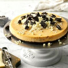 White Chocolate Pumpkin Cheesecake Recipe -Although my family enjoys all of the dishes I serve on Thanksgiving Day, it's this rich and creamy cheesecake they look forward to the most. Pumpkin Roll Cake, Cheese Pumpkin, Pumpkin Dessert, Pumpkin Pancakes, Pumpkin Cheesecake Recipes, Pumpkin Recipes, Dessert Recipes, Fall Recipes, Oreo Desserts