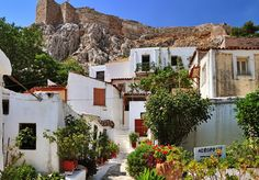 Anafiotika neighborhood in Plaka, under the Acropolis of Athens