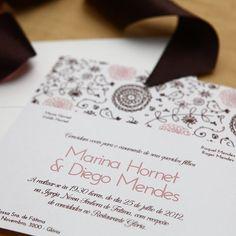 Convite de Casamento Marrom Campinas