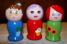 """Cute little wooden dolls  Pinned for painting my own....ideas.    Link is for actual """"purchase"""" of the dolls."""