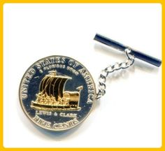 2-Toned Gold on Silver New Keel boat - nickel  Coin - Tie or Hat tack - Groom cufflinks and tie clips (*Amazon Partner-Link)