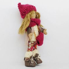 Emma doll Prety girl Exclusive Handmade doll Textile toy  Height: 20 Centimeters  Materials: jersey, acryl, staple, eco leather, genuine leather, tress