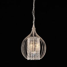 Compact Satin Nickel and Crystal Pendant Chandelier | Overstock.com Shopping - The Best Deals on Chandeliers & Pendants