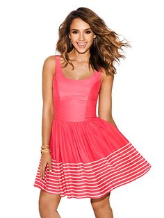 Jessica Alba in the Cafe Dress in Raspberry French Stripe, on the cover of Redbook Magazine