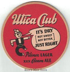 Utica Club Pilsner Lager Cream Ale Coaster Beer Coasters, Club, Cream, Creme Caramel