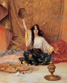Arabian Pretty Girl Playing Music - Egyptian Art - Arabian Art - Handmade Oil Painting On Canvas - painting Painting Of Girl, Oil Painting On Canvas, Music Painting, Oil Paintings, Canvas Art, Art Arabe, Arabian Art, Pre Raphaelite, Classical Art