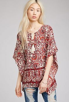 Abstract Print Peasant Blouse | Forever 21 - 2000079392