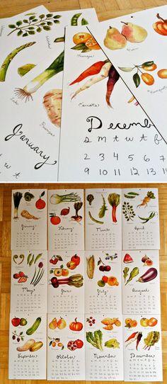 2012 fruit & veggie calendar by Brooke Weeber.   Con ilustraciones de las frutas y verduras del mes.