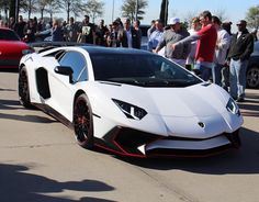 Lamborghini Aventador Super Veloce Coupe painted in Bianco Isis w/ red accents  Photo taken by: @dfw_cars_ on Instagram