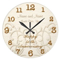 Shop Personalized Anniversary Gifts for Parents Large Clock created by LittleLindaPinda. Personalize it with photos & text or purchase as is! 50 Wedding Anniversary Gifts, Anniversary Clock, Anniversary Message, Anniversary Gifts For Parents, Wedding Gifts, Top Wedding Trends, Large Clock, Parent Gifts, Beautiful Gifts