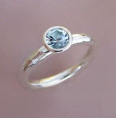 Aquamarine and Sterling Silver Hammered Ring by esdesigns on Etsy