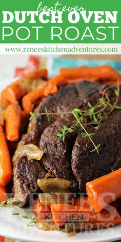 Nutritious Snack Tips For Equally Young Ones And Adults Dutch Oven Pot Roast By Renee's Kitchen Adventures Is An Easy Recipe For Oven Braised Pot Roast With Carrots And Onions That Comes Out Fork Tender Chuck Tender Roast Recipe, Best Roast Beef Recipe, Chuck Roast Recipes, Best Beef Recipes, Beef Pot Roast, Pot Roast Recipes, Fall Recipes, Favorite Recipes, Chuck Roast Dutch Oven