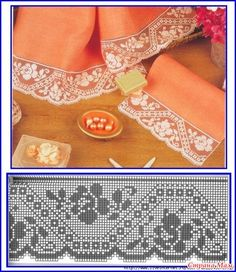 Bico com Rosa em Crochê - / Ned Barred with Rose into Crocheted - Filet Crochet Charts, Crochet Motifs, Crochet Borders, Crochet Flower Patterns, Tatting Patterns, Crochet Diagram, Thread Crochet, Crochet Doilies, Crochet Flowers