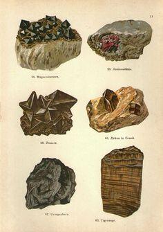 Vintage 1902 Print Rocks and Minerals, Crystals, zircon uranium zinc iron