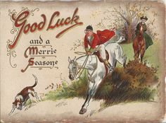 Vintage Christmas Cards, Vintage Cards, Equestrian Decor, Fox Hunting, The Fox And The Hound, New Year Card, Equine Art, Horse Art, Tally Ho