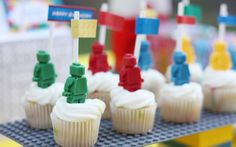 Lego Themed Birthday Party! - Kara's Party Ideas - The Place for All Things Party. like the mini figures on cupcakes, ice-cube trays.