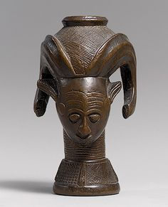 Cup: Head with Headdress, 19th–20th century Democratic Republic of Congo; Kuba peoples Wood