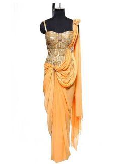 Indian Clothes - Orange Corset Saree - Raakesh Agarvwal - Strandofsilk.com