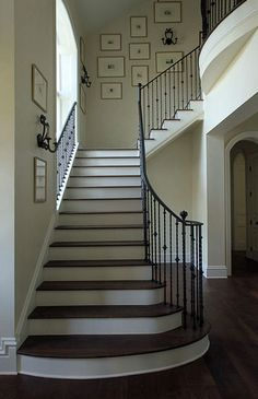 this is perfect for the remodel. Andrew Howard interior Design - entrances/foyers - traditional staircase, staircase, iron handrail, handrail, banister, iron banister, iron ...
