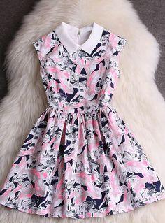 Sweet Printed Sleeveless Dress