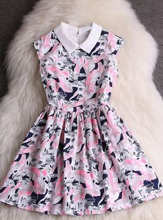 Sweet Printed Sleeveless Dress