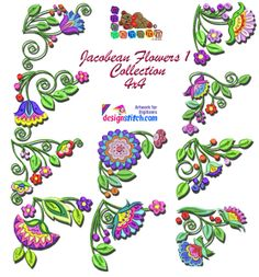 Jacobean Embroidery Patterns | Jacobean Flowers1 Collection4x4