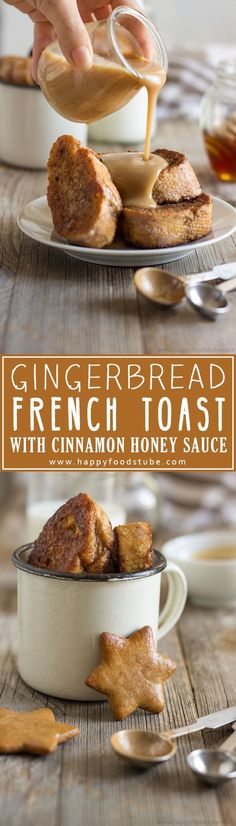 Gingerbread French Toast with Cinnamon Honey Sauce – Happy Foods Tube Gingerbread French Toast with Cinnamon Honey Sauce Recipe. A great breakfast-in-bed or brunch recipe with a hint of Christmas & mouth-watering sauce. via Happy Foods Tube Brunch Recipes, Breakfast Recipes, Dessert Recipes, Dinner Recipes, Brunch Ideas, Breakfast Ideas, Toast Ideas, Vegetarian Breakfast, Party Recipes