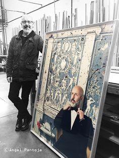 Work and model /Juanlu with his portrait Portrait, Artwork, Model, Work Of Art, Headshot Photography, Auguste Rodin Artwork, Scale Model, Portrait Paintings