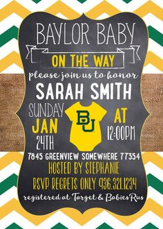 Baylor Baby Shower Invitation // So perfect! #SicEm