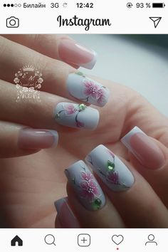 Image may contain: one or more people and closeup Bridal Nails, Wedding Nails, Pretty Nail Designs, Nail Art Designs, French Acrylic Nails, Special Nails, Nail Effects, Floral Nail Art, Stylish Nails