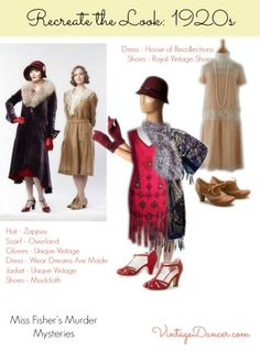 Miss Fisher Murder Mysteries fashions, upper and lower classes. Get these looks at VintageDancer.com/1920s