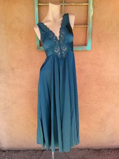 Vintage 1970s Nightgown Goddess Blue Nightie Plunging Small B34 e0715d54e