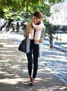all black + gray cardi, cream scarf