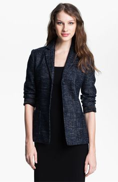 T Tahari Navy Metallic Tweed Jacket #commandress