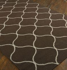 Uttermost Rug Hamilton, Dark Chocolate 5' X 8' Woven, over dyed dark chocolate wool with off white details..