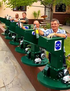 A Gondwana team receiving the glass crusher machines from Steven and James Hirst.