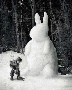 Snow Rabbit  We had 10 inches of snow the day before Palm Sunday 2018