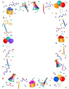 Anniversaire - Real Tutorial and Ideas Birthday Clipart, Birthday Cards, Happy Birthday, Borders For Paper, Borders And Frames, Diy And Crafts, Crafts For Kids, Free Printable Stationery, Eid Cards