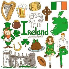 Fun Colorful Sketch Collection Of Irish Icons, Countries Alphabet Royalty Free Cliparts, Vectors, And Stock Illustration. Ireland Culture, Irish Culture, Around The World Theme, International Day, Cultural Diversity, Cultures Du Monde, World Cultures, Alphabet Photos, Geography For Kids