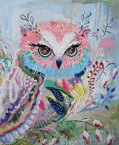 Owl in Bloom — Amy Kavs Art - The Bloom-Print Studio - Nursery Art Owl Canvas, Canvas Art Prints, Cuadros Diy, Art Deco Posters, Mexican Folk Art, Illustrations, Whimsical Art, Bird Art, Original Paintings