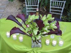 purple calla lily wedding centerpieces