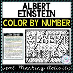 This Albert Einstein Color by Number and Text Marking activity is the perfect way to bring life to the topic! Students read a non-fiction passage and search for answers while marking evidence from the text. Perfect reading comprehension activity. #alberteinstein #scienceactivities #USHistory #HomeSchool #Digital #4thgrade #5thgrade #6thgrade #Interactive #MiddleSchool #UpperElementary