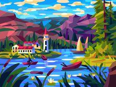 Landscape Illustration, Illustration Art, Coloring Books, Coloring Pages, Nature Drawing, Mascot Design, Second World, Vector Design, Art Reference