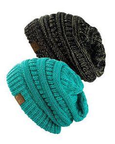 Unisex Soft Stretch Knit Slouchy Beanie (Two Toned- Black/Dark Beige & – Niobe Clothing