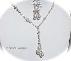 Pearl Bridal Necklace Earrings Jewelry SET, Swarovski Crystal and Pearl Necklace Set Sterling Silver