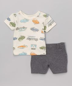 Another great find on #zulily! Sterling Baby Blue & Gray Vintage Car Tee & Shorts - Infant by Sterling Baby #zulilyfinds