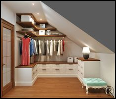 21 creative wardrobe ideas you can copy in your home : classic Dressing room by Rash_studio Attic Wardrobe, Attic Closet, Wardrobe Ideas, Closet Ideas, Small Walk In Wardrobe, Office Wardrobe, Wardrobe Storage, Wardrobe Design, Attic Renovation